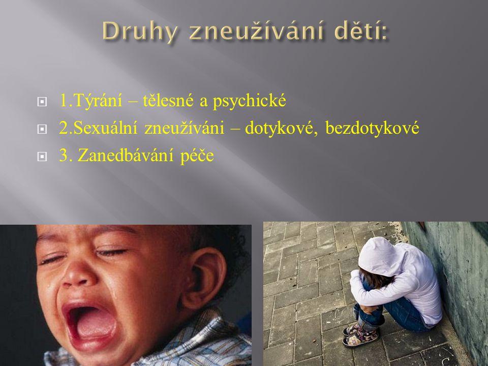  1.Týrání – tělesné a psychické  2.Sexuální zneužíváni – dotykové, bezdotykové  3. Zanedbávání péče