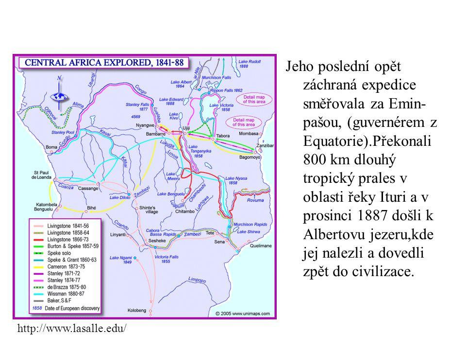 Jeho poslední opět záchraná expedice směřovala za Emin- pašou, (guvernérem z Equatorie).Překonali 800 km dlouhý tropický prales v oblasti řeky Ituri a v prosinci 1887 došli k Albertovu jezeru,kde jej nalezli a dovedli zpět do civilizace.