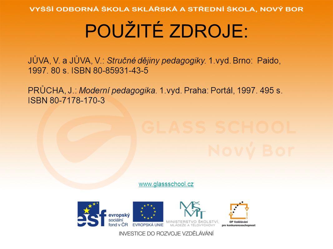 POUŽITÉ ZDROJE: www.glassschool.cz JŮVA, V. a JŮVA, V.: Stručné dějiny pedagogiky. 1.vyd. Brno: Paido, 1997. 80 s. ISBN 80-85931-43-5 PRŮCHA, J.: Mode