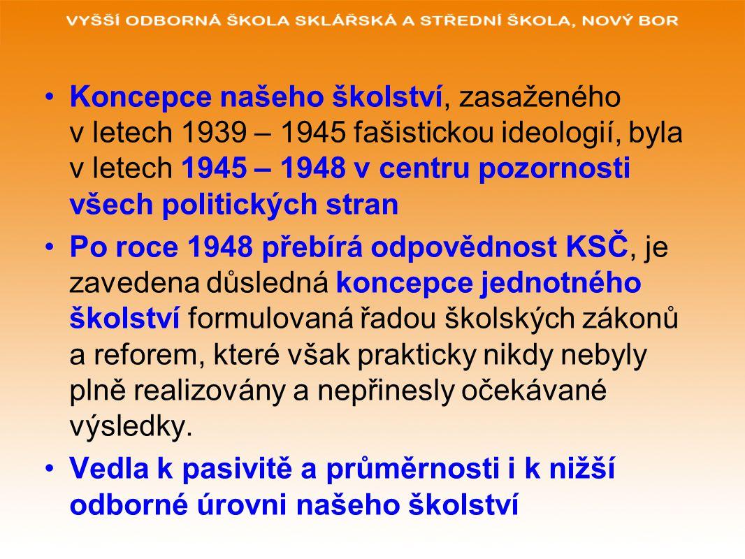 Koncepce našeho školství, zasaženého v letech 1939 – 1945 fašistickou ideologií, byla v letech 1945 – 1948 v centru pozornosti všech politických stran