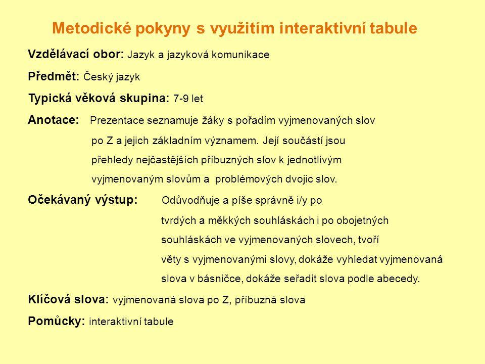 ZDROJE http://www.spoustadarku.cz/nase-slunicko/ http://www.mslaudova.cz/ http://skolakov.webnode.cz/cesky-jazyk-3-trida/vyjmenovana- slova-po-z/ http://skolakov.webnode.cz/cesky-jazyk-3-trida/vyjmenovana- slova-po-z/ http://skolakov3b.sweb.cz/vyjmenovana_slova_po_Z/book.sw f http://skolakov3b.sweb.cz/vyjmenovana_slova_po_Z/book.sw f http://skolakov3b.sweb.cz/vyjmenovana_slova_po_Z/VS- Z1/razeniZ1.htm http://skolakov3b.sweb.cz/vyjmenovana_slova_po_Z/VS- Z1/razeniZ1.htm Český jazyk 3:Učebnice pro 3.ročník, Brno:Nová škola,2002,ISBN:80-85607-38-7 Pečonková, L.