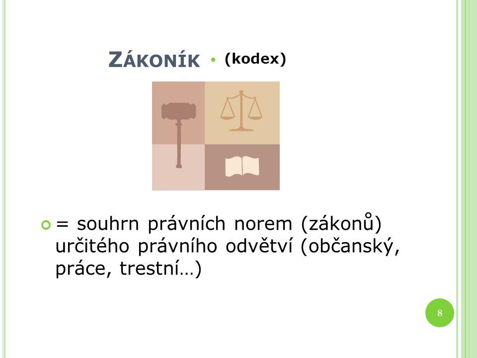 Z ÁKONÍK (kodex) = souhrn právních norem (zákonů) určitého právního odvětví (občanský, práce, trestní…) 8