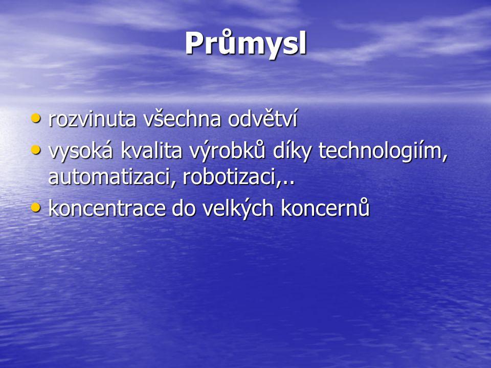 Průmysl rozvinuta všechna odvětví rozvinuta všechna odvětví vysoká kvalita výrobků díky technologiím, automatizaci, robotizaci,..