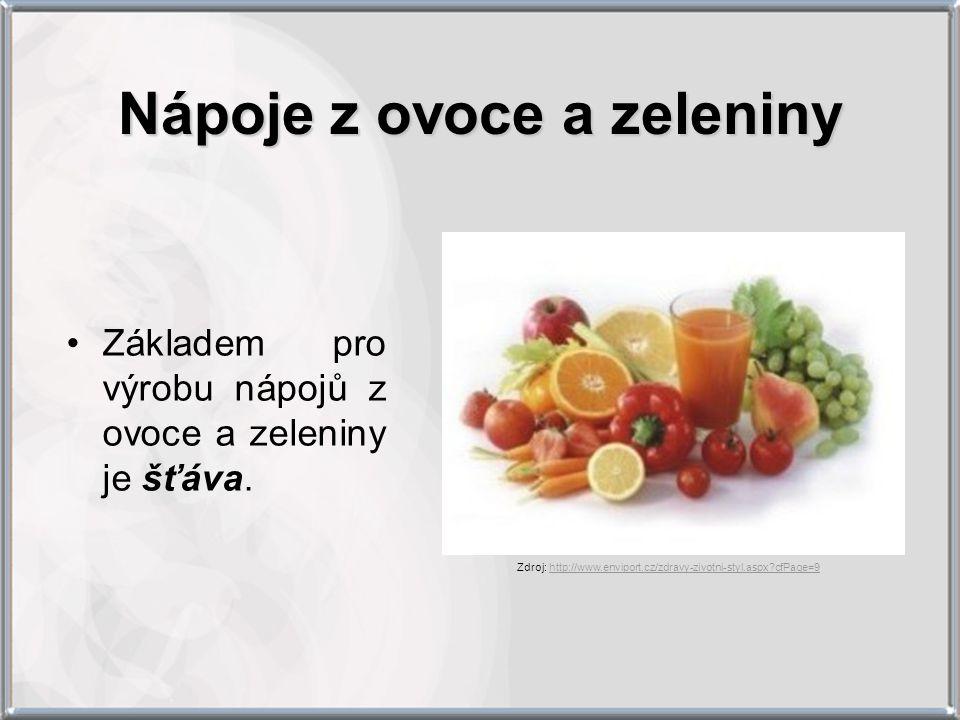 Základem pro výrobu nápojů z ovoce a zeleniny je šťáva. Zdroj: http://www.enviport.cz/zdravy-zivotni-styl.aspx?cfPage=9http://www.enviport.cz/zdravy-z