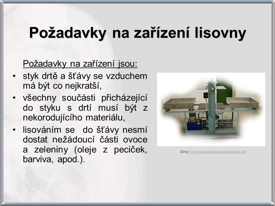 Požadavky na zařízení lisovny Požadavky na zařízení jsou: styk drtě a šťávy se vzduchem má být co nejkratší, všechny součásti přicházející do styku s