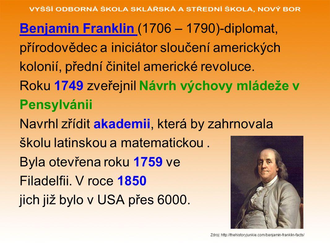 Benjamin Franklin (1706 – 1790)-diplomat, přírodovědec a iniciátor sloučení amerických kolonií, přední činitel americké revoluce. Roku 1749 zveřejnil