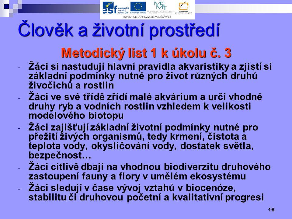 16 Člověk a životní prostředí Metodický list 1 k úkolu č.