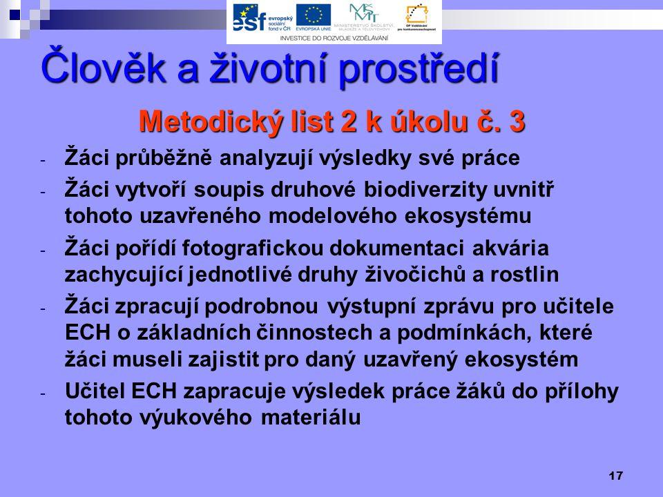 17 Člověk a životní prostředí Metodický list 2 k úkolu č.