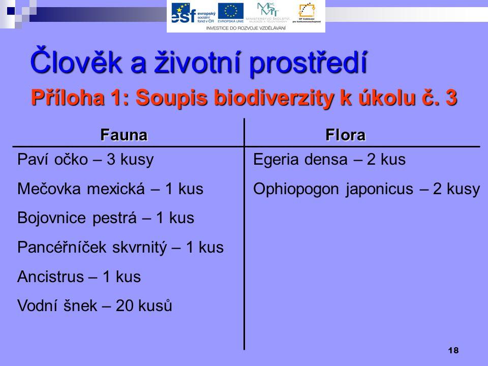 18 Člověk a životní prostředí Příloha 1: Soupis biodiverzity k úkolu č.
