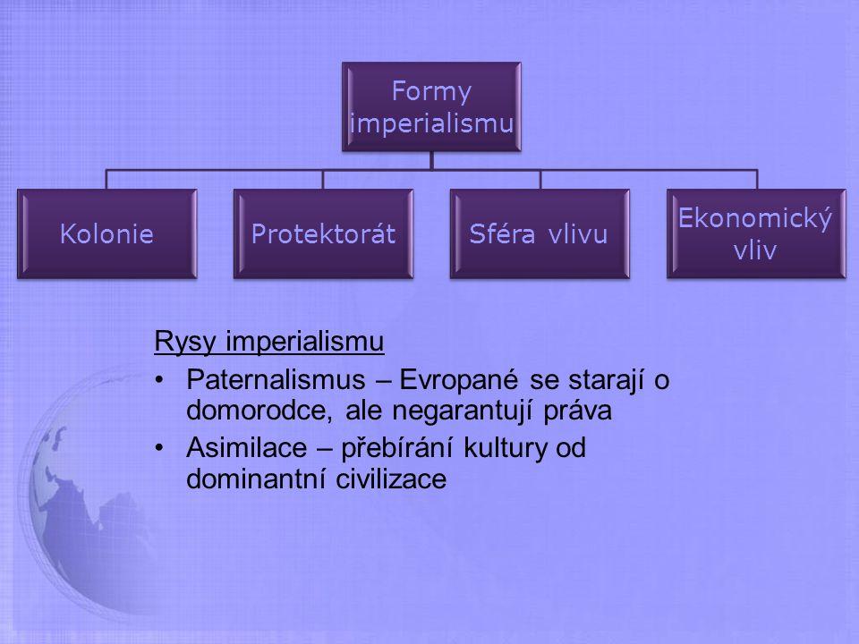 Rysy imperialismu Paternalismus – Evropané se starají o domorodce, ale negarantují práva Asimilace – přebírání kultury od dominantní civilizace Formy imperialismu KolonieProtektorátSféra vlivu Ekonomický vliv