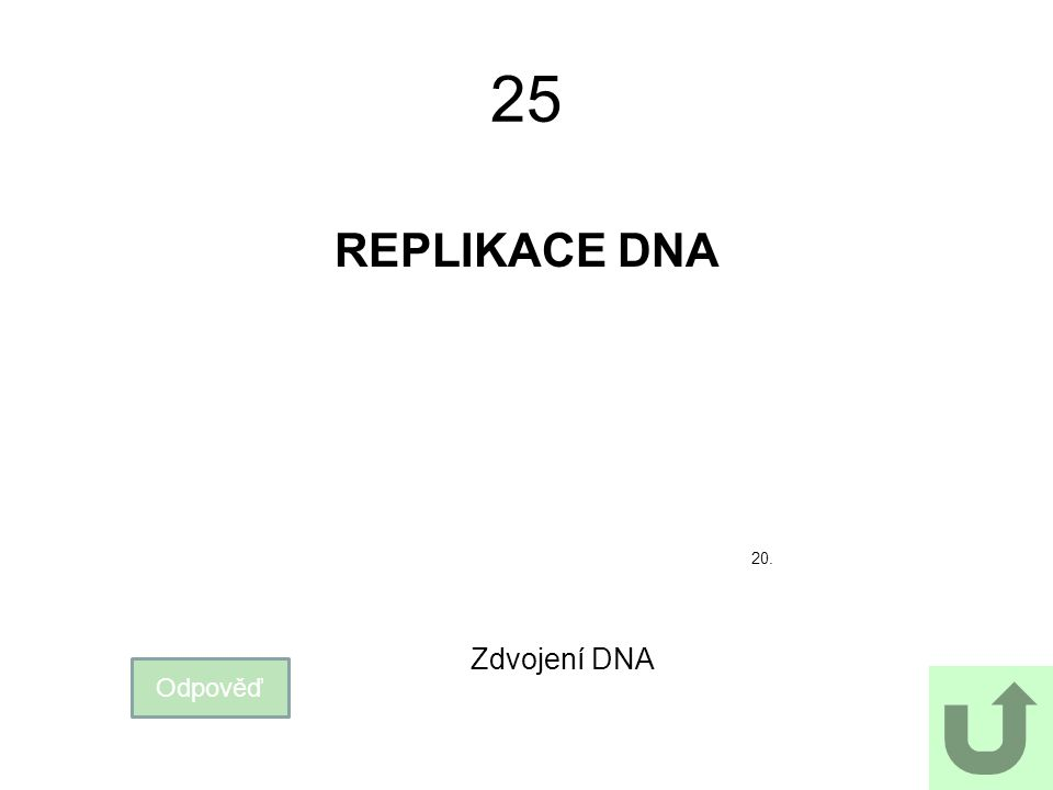 25 REPLIKACE DNA Odpověď Zdvojení DNA 20.