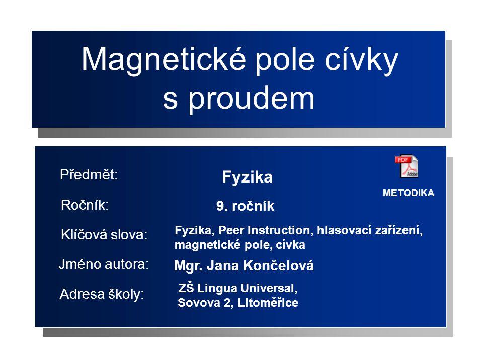 Magnetické pole cívky s proudem Fyzika Jméno autora: Adresa školy: Ročník: Předmět: Klíčová slova: 9.
