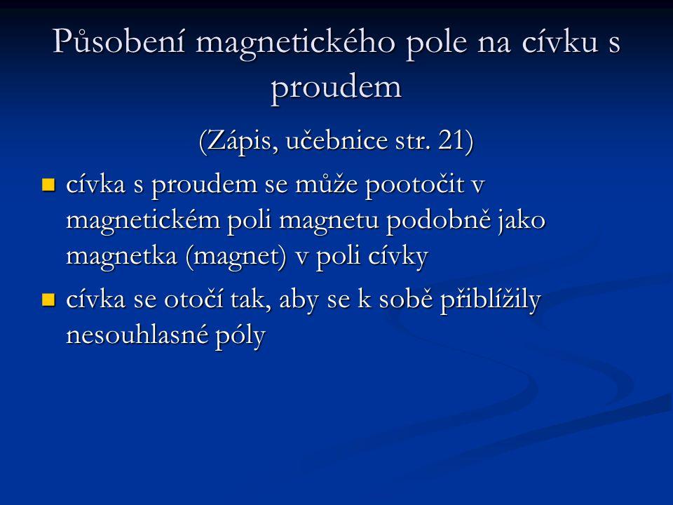 Působení magnetického pole na cívku s proudem (Zápis, učebnice str.