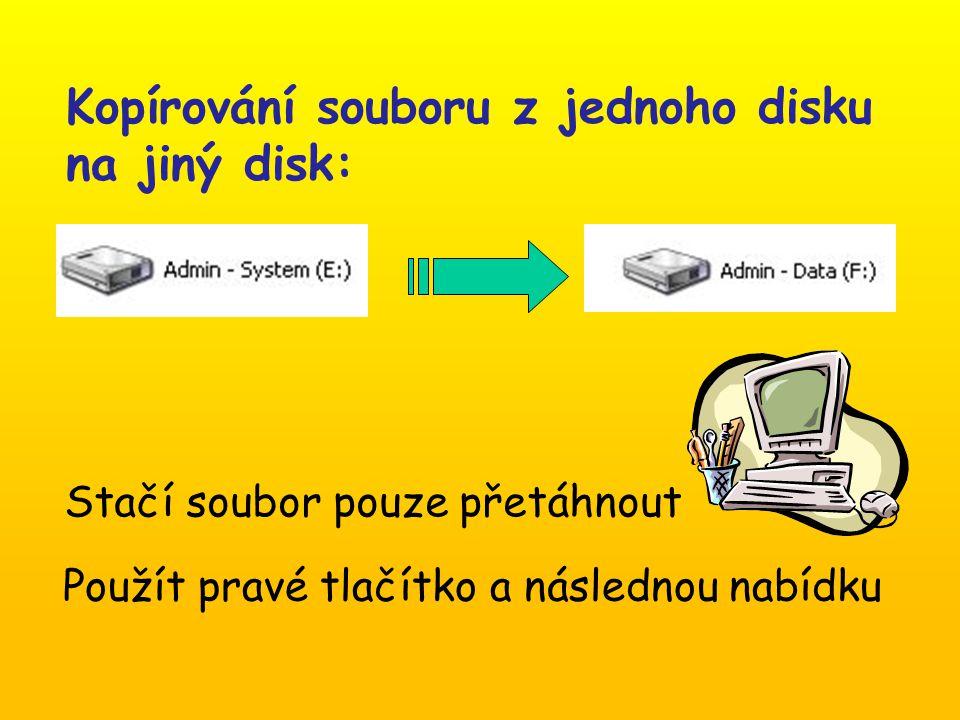 Kopírování souboru z jednoho disku na jiný disk: Stačí soubor pouze přetáhnout Použít pravé tlačítko a následnou nabídku