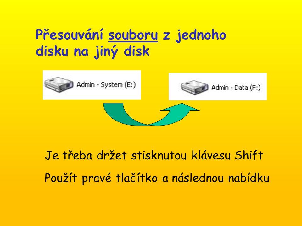 Je třeba držet stisknutou klávesu Shift Použít pravé tlačítko a následnou nabídku Přesouvání souboru z jednoho disku na jiný disk