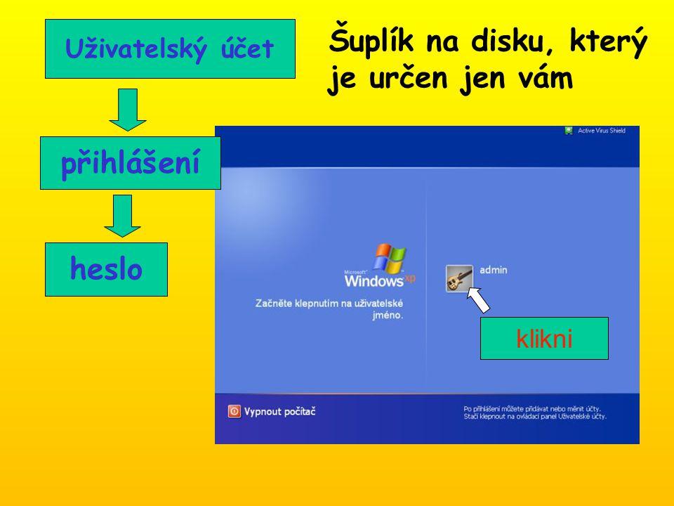 Uživatelský účet přihlášení heslo Šuplík na disku, který je určen jen vám klikni