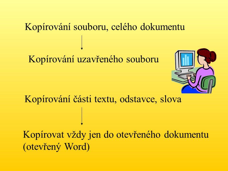 Kopírování souboru, celého dokumentu Kopírování uzavřeného souboru Kopírování části textu, odstavce, slova Kopírovat vždy jen do otevřeného dokumentu