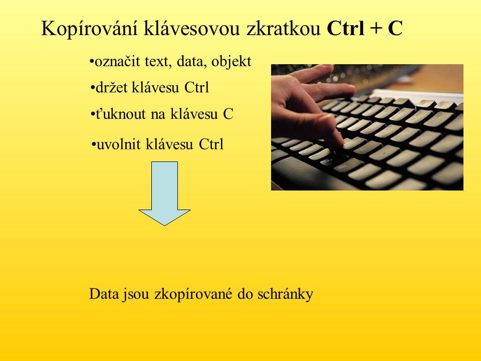 Kopírování klávesovou zkratkou Ctrl + C označit text, data, objekt držet klávesu Ctrl ťuknout na klávesu C uvolnit klávesu Ctrl Data jsou zkopírované