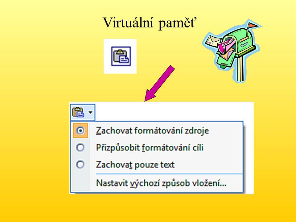 Vyjmutí dat do schránky Klávesovou zkratkou Ctrl + X nebo Klepnutím na ikonu Vyjmout