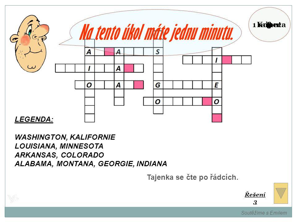 Vložte názvy států USA do křížovky a zjistíte název státu Ameriky. Soutěžíme s Emilem