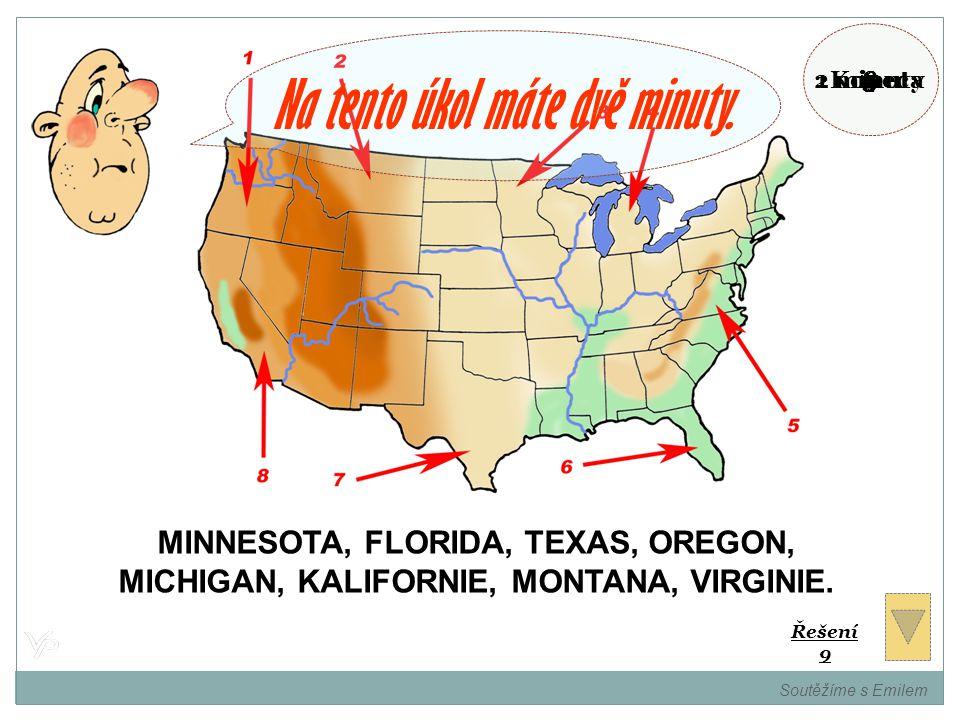 Přidělte názvy států USA k číslům. Soutěžíme s Emilem