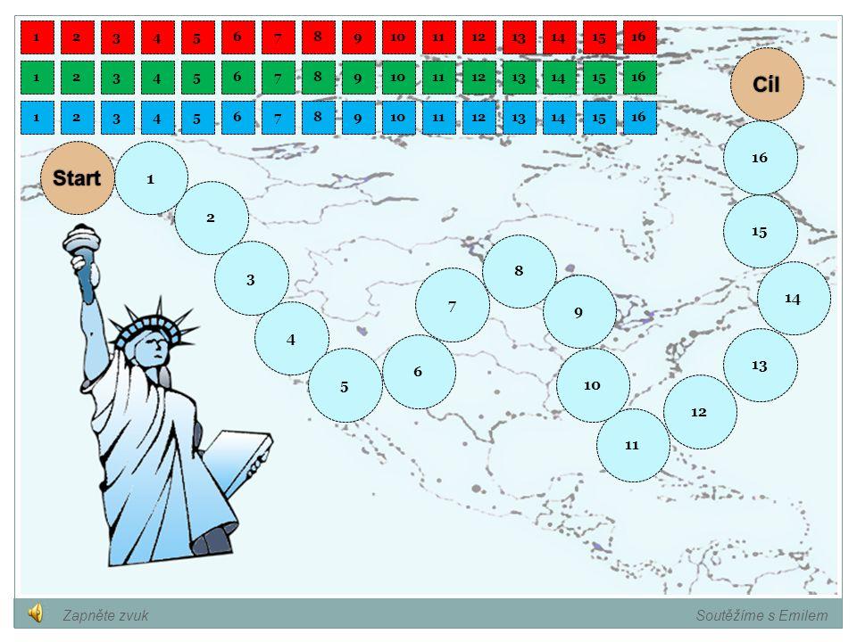 Pojmenujte označené státy na mapě. Soutěžíme s Emilem