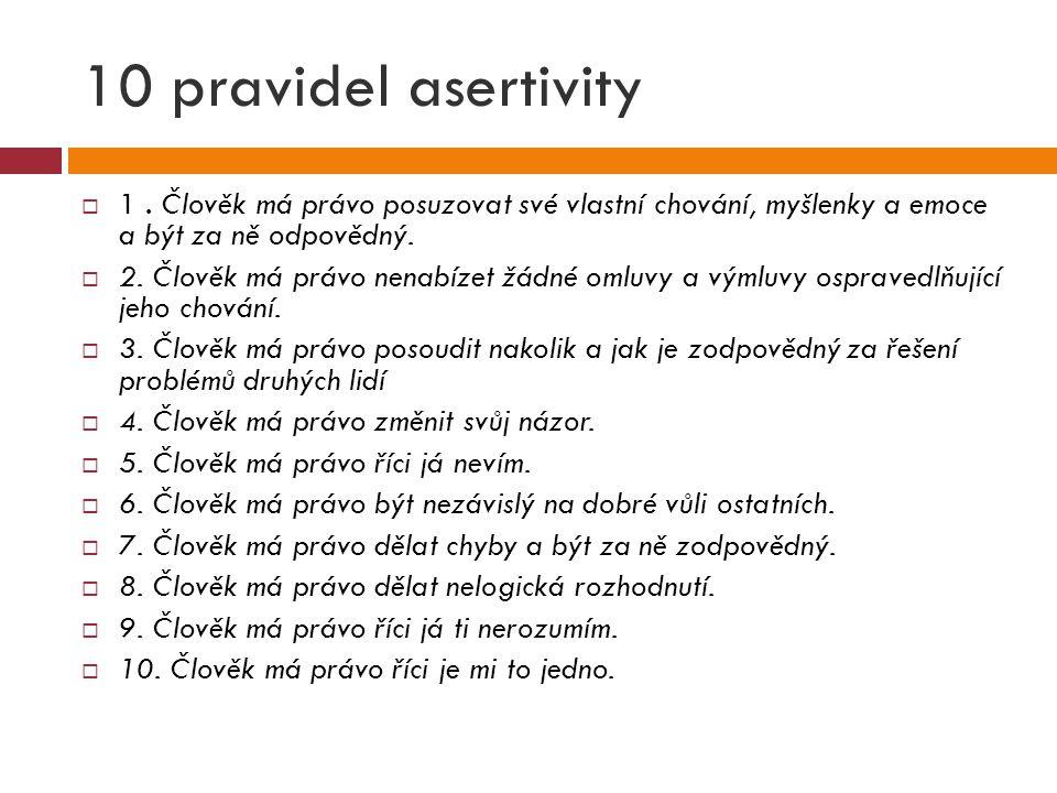 10 pravidel asertivity  1. Člověk má právo posuzovat své vlastní chování, myšlenky a emoce a být za ně odpovědný.  2. Člověk má právo nenabízet žádn
