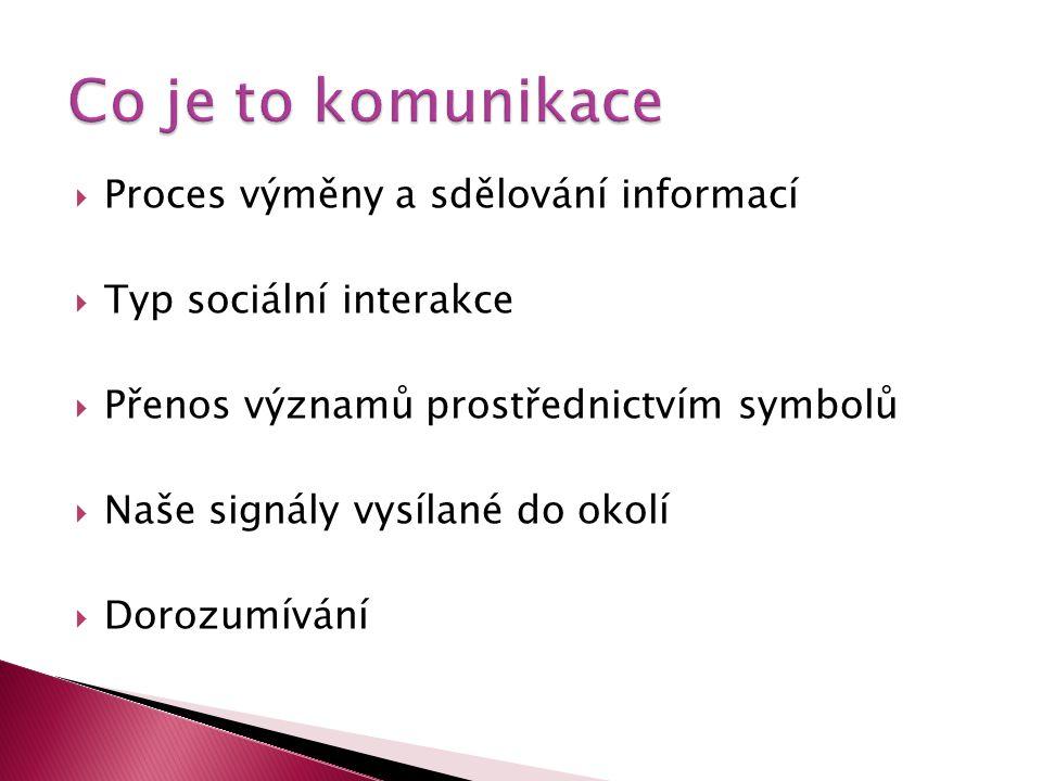  Proces výměny a sdělování informací  Typ sociální interakce  Přenos významů prostřednictvím symbolů  Naše signály vysílané do okolí  Dorozumíván