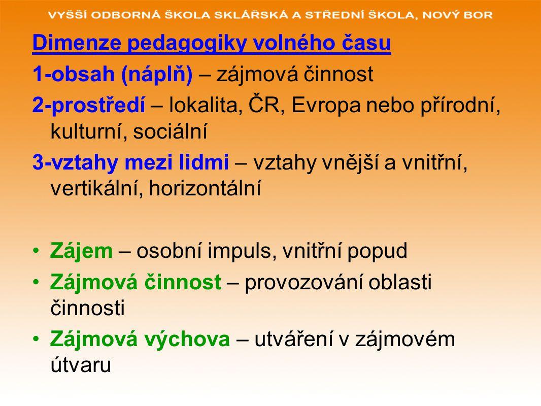 Dimenze pedagogiky volného času 1-obsah (náplň) – zájmová činnost 2-prostředí – lokalita, ČR, Evropa nebo přírodní, kulturní, sociální 3-vztahy mezi l