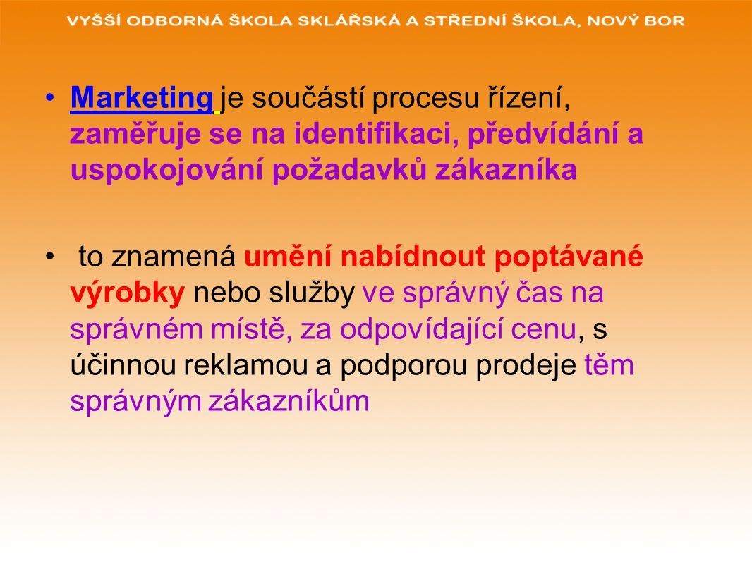 Funkcí marketingu je rozhodnout o tom: a)Jaké výrobky a služby zákazníci chtějí b)Jak zabezpečit tyto výrobky a služby c)Jak je ocenit d)Jaké balení, reklamu prodeje použít e)Jaká bude distribuce konečnému spotřebiteli .