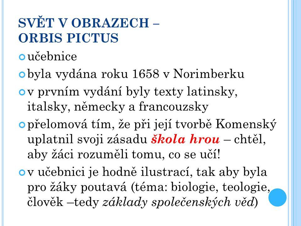 SVĚT V OBRAZECH – ORBIS PICTUS učebnice byla vydána roku 1658 v Norimberku v prvním vydání byly texty latinsky, italsky, německy a francouzsky přelomo
