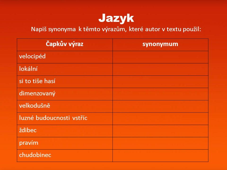 Print Slide Jazyk Napiš synonyma k těmto výrazům, které autor v textu použil: Čapkův výrazsynonymum velocipéd lokální si to tiše hasí dimenzovaný velk