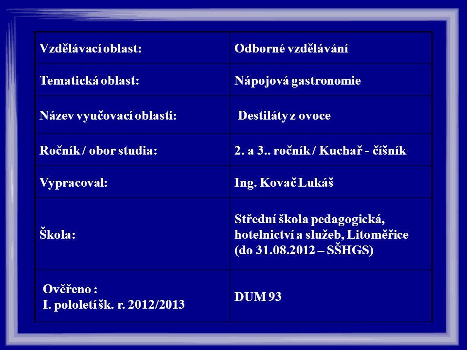 Vzdělávací oblast:Odborné vzdělávání Tematická oblast:Nápojová gastronomie Název vyučovací oblasti: Destiláty z ovoce Ročník / obor studia:2. a 3.. ro
