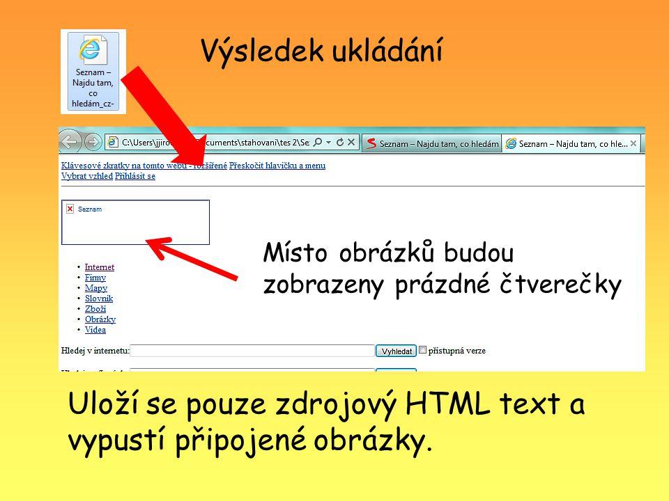 Výsledek ukládání Uloží se pouze zdrojový HTML text a vypustí připojené obrázky. Místo obrázků budou zobrazeny prázdné čtverečky