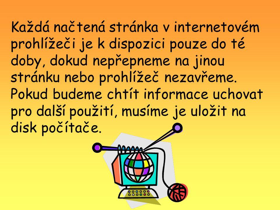 Každá načtená stránka v internetovém prohlížeči je k dispozici pouze do té doby, dokud nepřepneme na jinou stránku nebo prohlížeč nezavřeme. Pokud bud