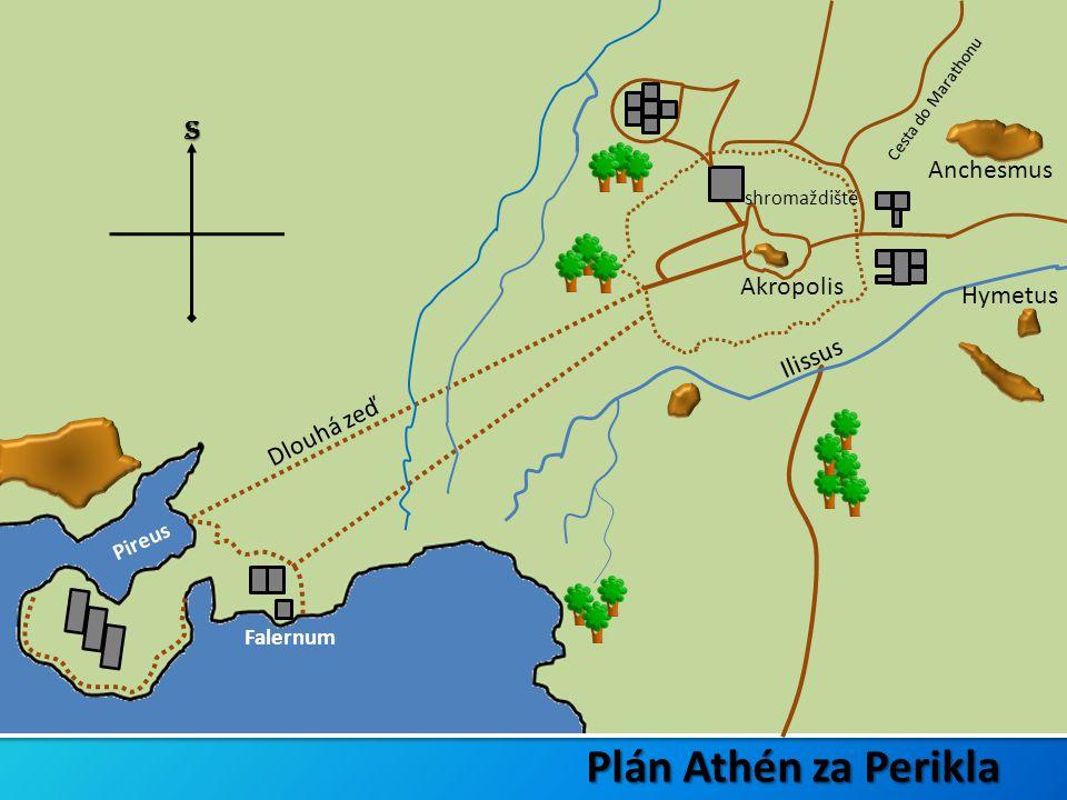Pireus Dlouhá zeď Cesta do Marathonu Akropolis Falernum shromaždiště S Plán Athén za Perikla Hymetus Ilissus Anchesmus