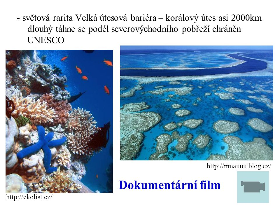 - světová rarita Velká útesová bariéra – korálový útes asi 2000km dlouhý táhne se podél severovýchodního pobřeží chráněn UNESCO http://mnauuu.blog.cz/ http://ekolist.cz/ Dokumentární film