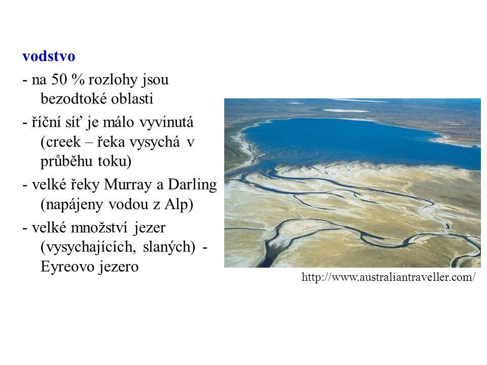 vodstvo - na 50 % rozlohy jsou bezodtoké oblasti - říční síť je málo vyvinutá (creek – řeka vysychá v průběhu toku) - velké řeky Murray a Darling (napájeny vodou z Alp) - velké množství jezer (vysychajících, slaných) - Eyreovo jezero http://www.australiantraveller.com/