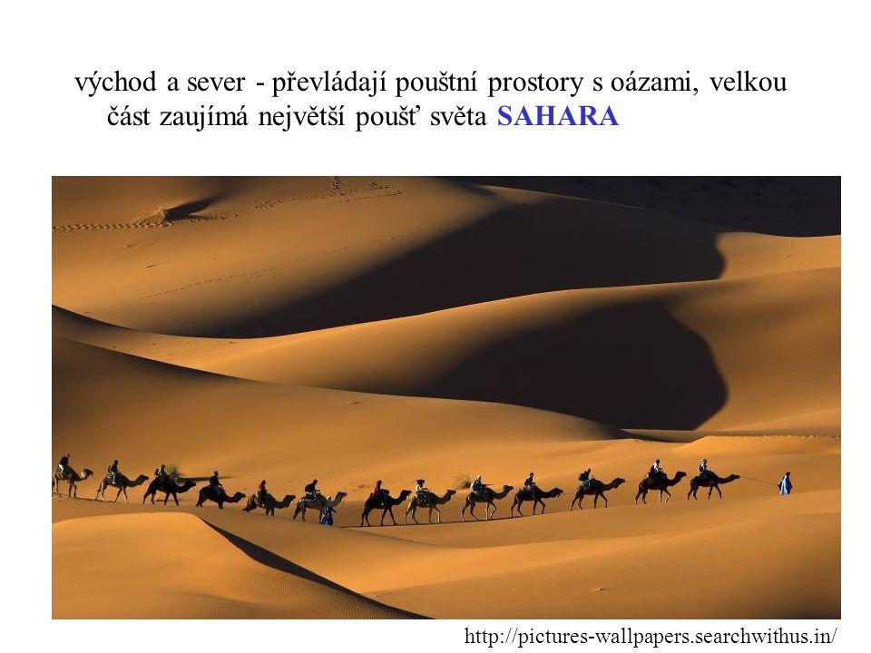 východ a sever - převládají pouštní prostory s oázami, velkou část zaujímá největší poušť světa SAHARA http://pictures-wallpapers.searchwithus.in/