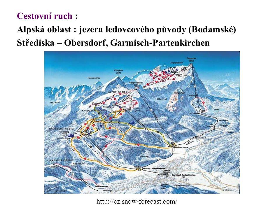 Cestovní ruch : Alpská oblast : jezera ledovcového původy (Bodamské) Střediska – Obersdorf, Garmisch-Partenkirchen http://cz.snow-forecast.com/