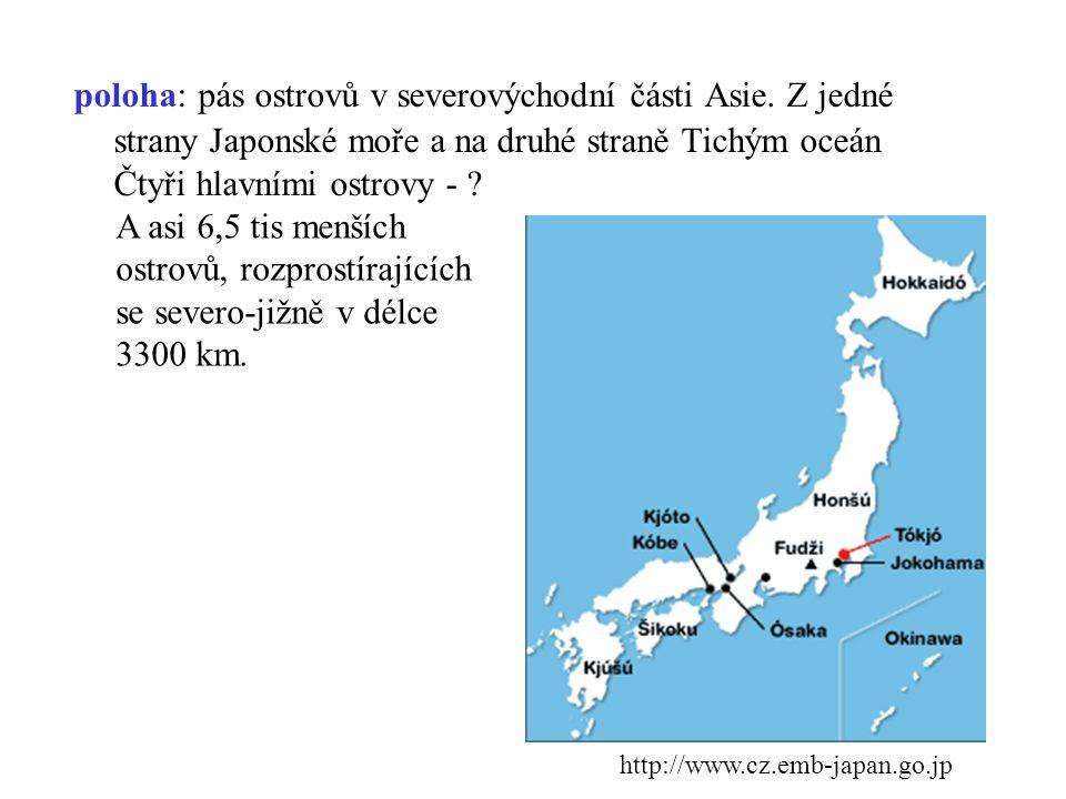 poloha: pás ostrovů v severovýchodní části Asie. Z jedné strany Japonské moře a na druhé straně Tichým oceán Čtyři hlavními ostrovy - ? http://www.cz.