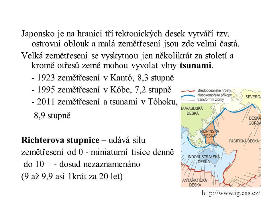 podnebí: oceánské monzunového typu, JV oteplován teplým proudem S – chladné (hory trvalý sníh) J – subtropické Tajfun je tropická cyklóna - atmosférický útvar tlakové níže v podobě obrovského víru s charakteristickým okem ve středu http://zpravy.tiscali.cz/