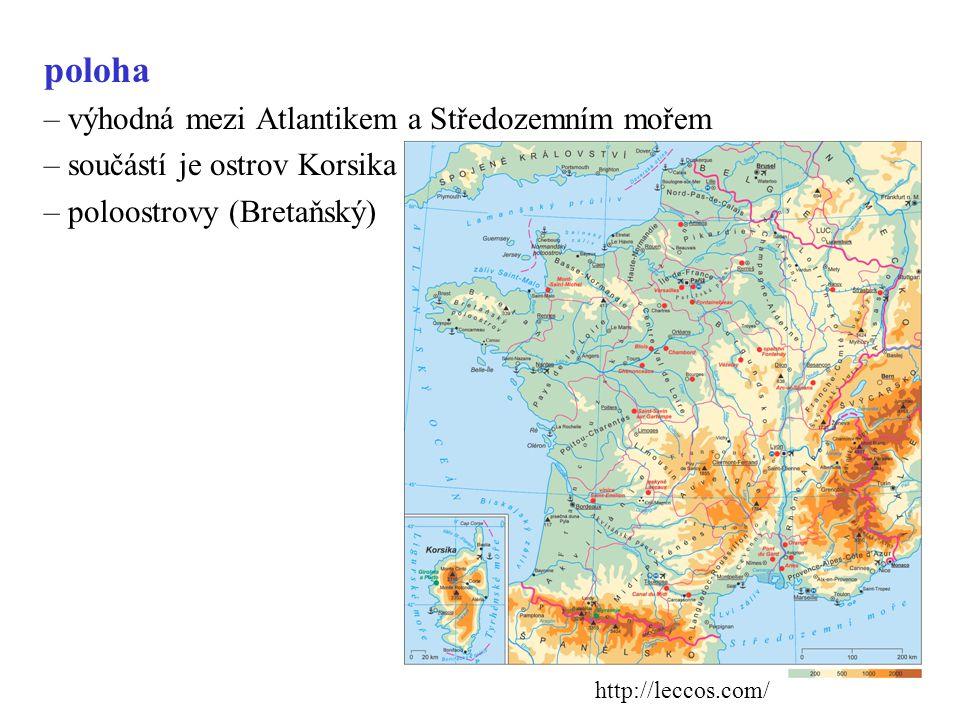 poloha – výhodná mezi Atlantikem a Středozemním mořem – součástí je ostrov Korsika – poloostrovy (Bretaňský) http://leccos.com/