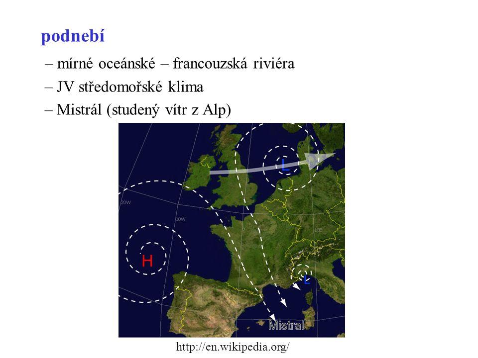 podnebí – mírné oceánské – francouzská riviéra – JV středomořské klima – Mistrál (studený vítr z Alp) http://en.wikipedia.org/