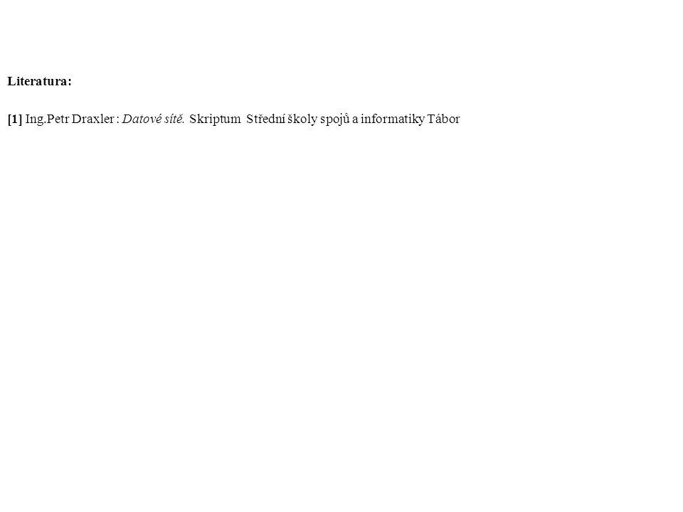 Literatura: [1] Ing.Petr Draxler : Datové sítě. Skriptum Střední školy spojů a informatiky Tábor