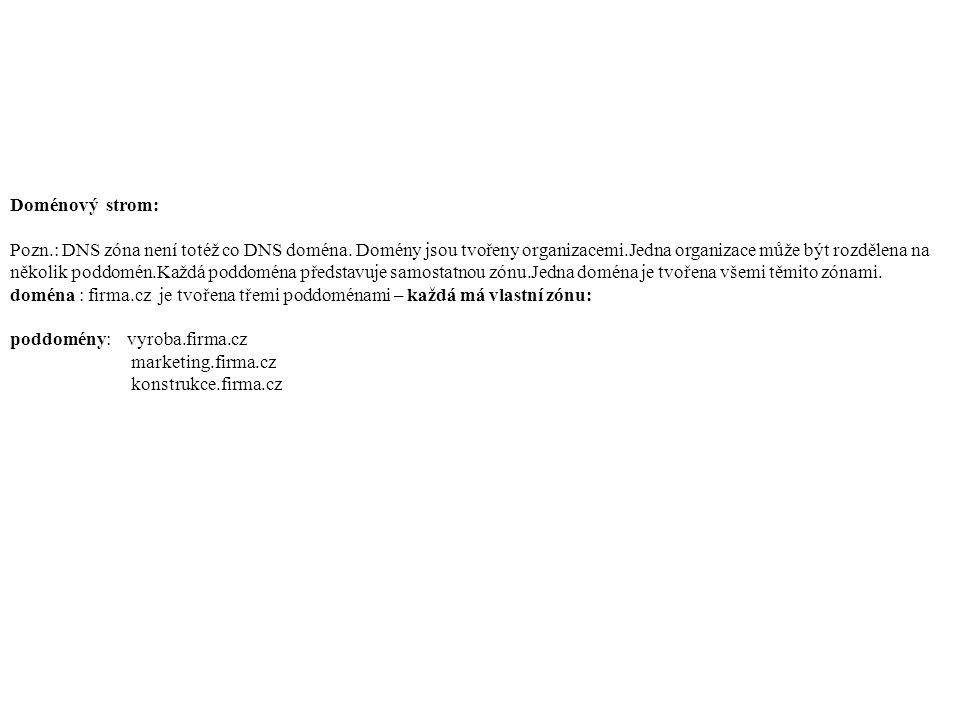 Doménový strom: Pozn.: DNS zóna není totéž co DNS doména.