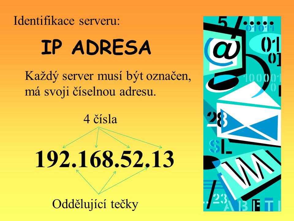 IP ADRESA Každý server musí být označen, má svoji číselnou adresu.