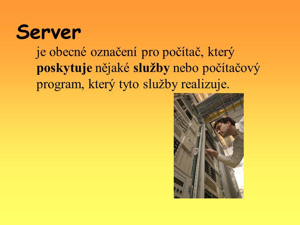Server je obecné označení pro počítač, který poskytuje nějaké služby nebo počítačový program, který tyto služby realizuje.
