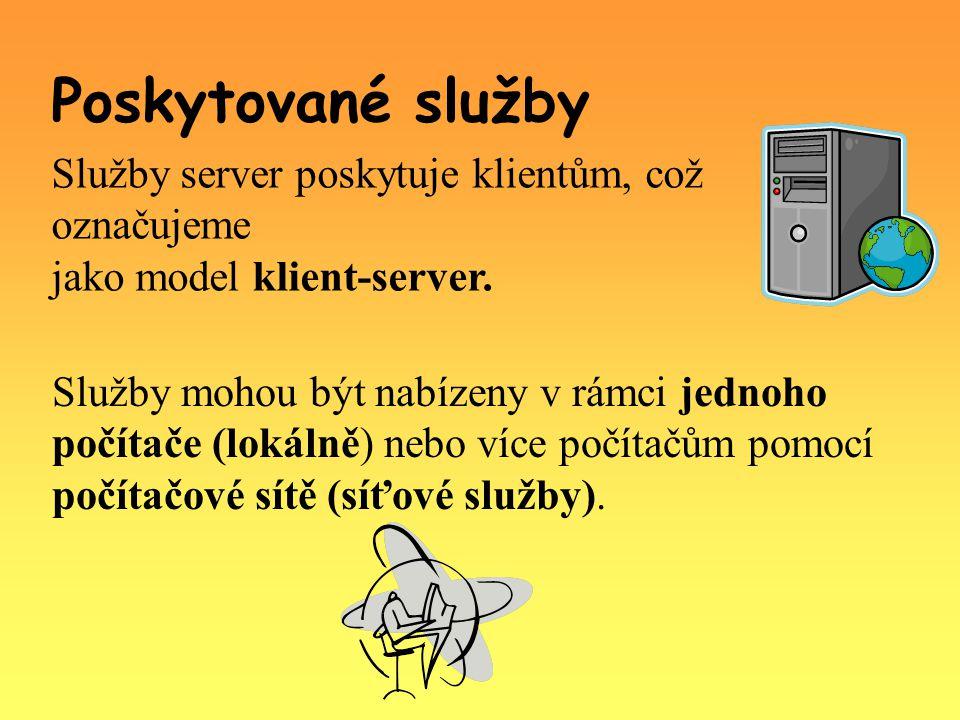 Služby server poskytuje klientům, což označujeme jako model klient-server.