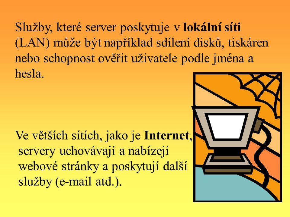 Služby, které server poskytuje v lokální síti (LAN) může být například sdílení disků, tiskáren nebo schopnost ověřit uživatele podle jména a hesla.